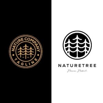 Projeto de ilustração natureza árvore empresa pinho logotipo emblema