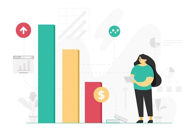 Projeto de ilustração plana analítica de gráfico