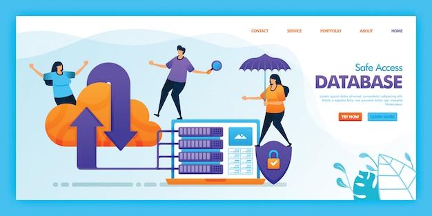 Projeto de ilustração plana de banco de dados de acesso seguro.