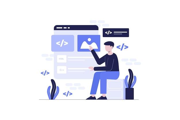 Projeto de ilustração plana de programação
