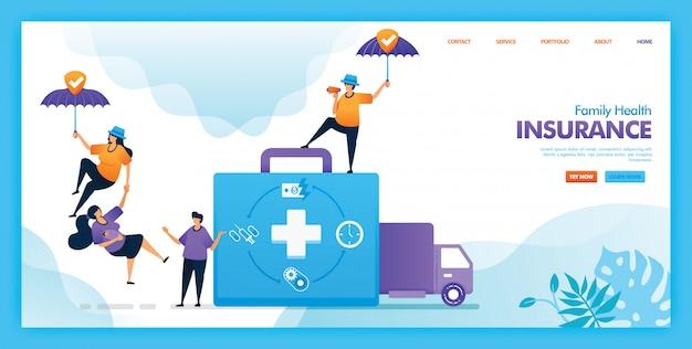 Projeto de ilustração plana de seguro de saúde da família.