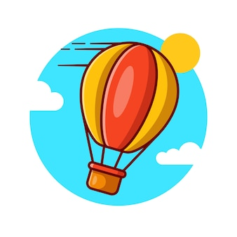 Projeto de ilustração vetorial de balão de ar quente voando alto