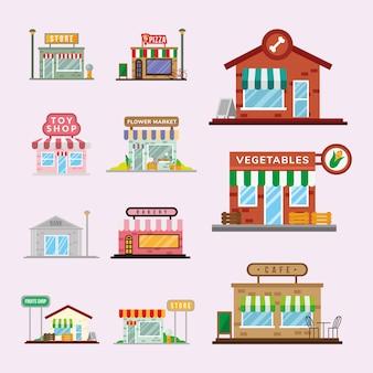 Projeto de ilustração vetorial de fachadas de pequenas lojas