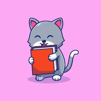 Projeto de ilustração vetorial de gatinho fofo carregando um livro