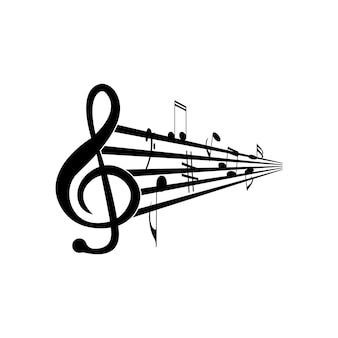Projeto de ilustração vetorial de ícone de nota musical