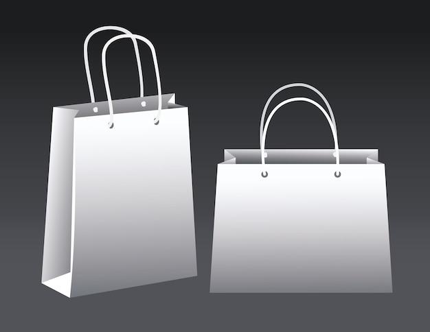 Projeto de ilustração vetorial de ícones de maquete de papel de sacolas de compras brancas