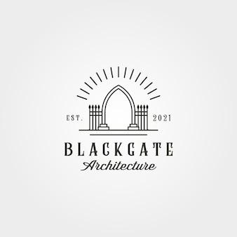 Projeto de ilustração vetorial de logotipo vintage de portão de corredor, estilo de linha de arte