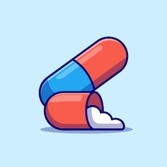 Projeto de ilustração vetorial de medicamento pílula de saúde conceito de design de objeto isolado premium