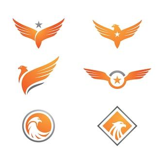 Projeto de ilustração vetorial de modelo de ícone de asa de falcão