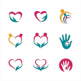 Projeto de ilustração vetorial de modelo de ícone de cuidados com as mãos