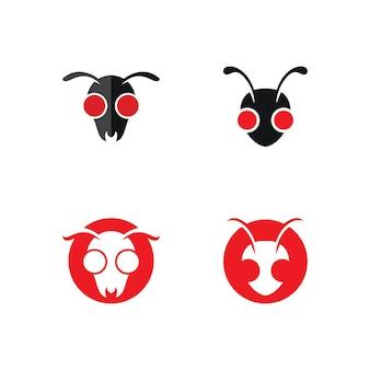 Projeto de ilustração vetorial de modelo de logotipo de formiga Vetor Premium