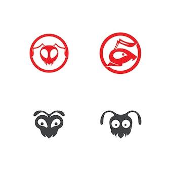 Projeto de ilustração vetorial de modelo de logotipo de formiga