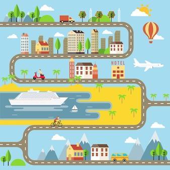 Projeto de ilustração vetorial de paisagem urbana de cidade pequena para crianças