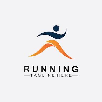 Projeto de ilustração vetorial de símbolo de logotipo de pessoas correndo. atletas de maratona de corrida saudáveis. logotipo de vetor de corrida