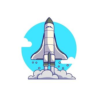Projeto de ilustração vetorial decolagem do ônibus espacial