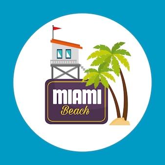 Projeto de ilustração vetorial ícones de verão miami beach