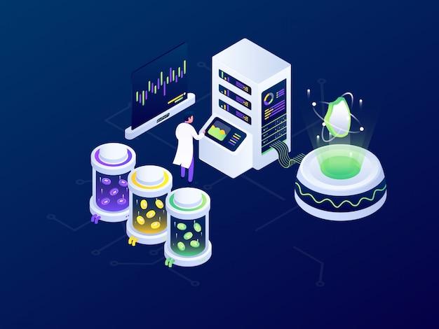 Projeto de ilustração vetorial isométrica futurista de mineração bitcoin blockchain de criptomoeda
