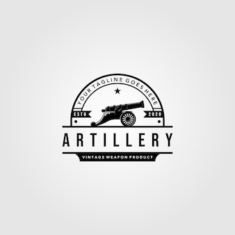 Projeto de ilustração vintage de logotipo de artilharia de canhão