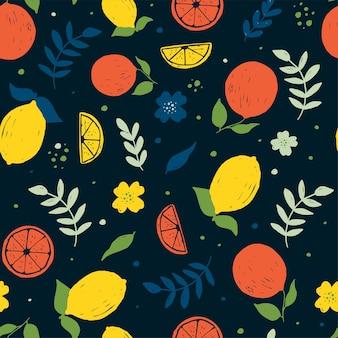 Projeto de impressão de padrão sem emenda de frutas fofas, fundo escuro, ilustração vetorial design para moda fa