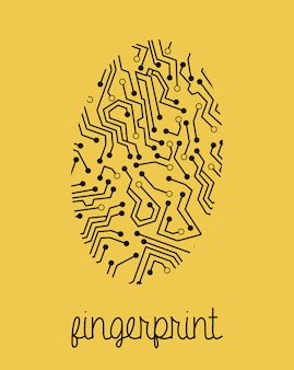 Projeto de impressão digital sobre o fundo amarelo