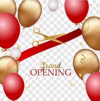 Projeto de inauguração com fita, balões e tesouras de ouro, confetes.