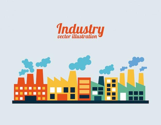 Projeto de indústria sobre ilustração vetorial de fundo azul