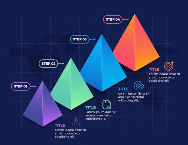 Projeto de infográfico 3d com etapas de 4 opções