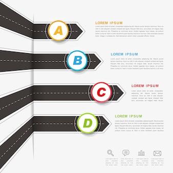 Projeto de infográfico criativo com elementos de seta de estrada