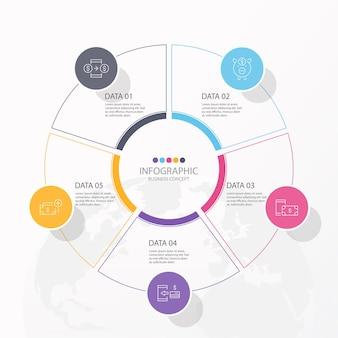 Projeto de infográfico de círculos com linha fina e 5 opções ou etapas