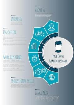 Projeto de infográfico de currículo plano. retomar cv definido com infográficos e linha do tempo. vetor limpo
