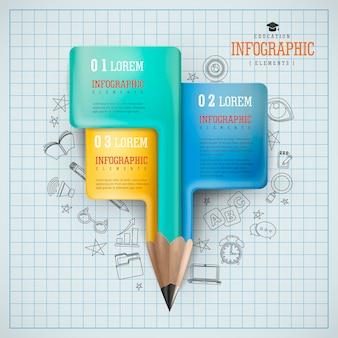 Projeto de infográfico de educação, adorável lápis realista com opções e ícones