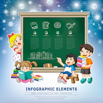 Projeto de infográfico de educação, crianças com elemento de quadro-negro