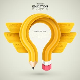 Projeto de infográfico de educação, lápis amarelo criativo em forma de bulbo com opções