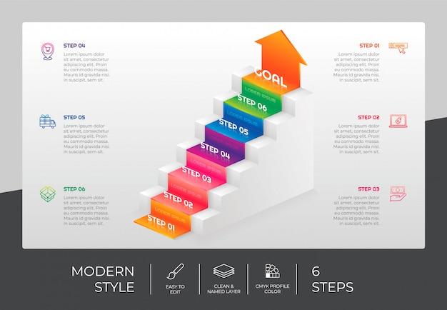 Projeto de infográfico de escada 3d com 6 etapas e estilo colorido para fins de apresentação. infográfico de opção de escada
