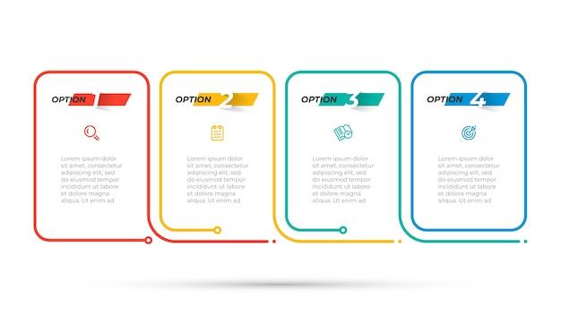 Projeto de infográfico de linha fina com ícone e número. conceito de negócio com 4 opções ou etapas. molde do vetor.