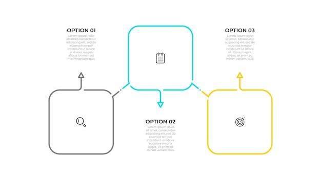 Projeto de infográfico de linha fina com ícones quadrados e de marketing conceito de negócio com 3 opções ou etapas