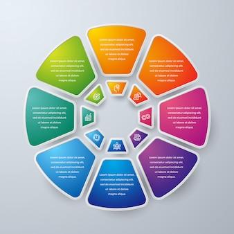 Projeto de infográfico de negócios círculo com 8 opções de processo ou etapas.