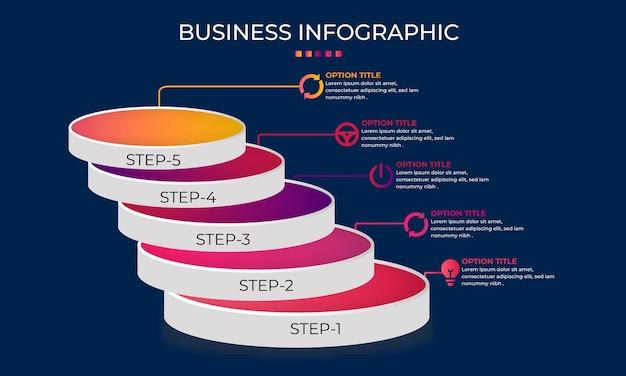 Projeto de infográfico de processo de negócios 3d
