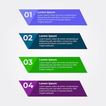 Projeto de infográfico de quatro etapas. modelo de design de infográfico plano multicolor