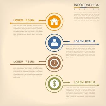 Projeto de infográfico de simplicidade com elementos de linhas finas