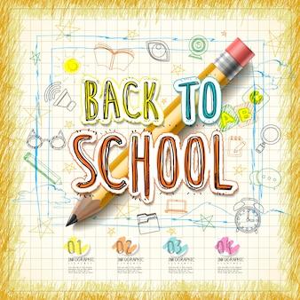 Projeto de infográfico educacional, lápis amarelo realista com palavras e rabiscos de volta às aulas