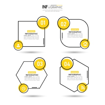 Projeto de infográficos com quatro etapas.