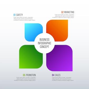 Projeto de infográficos da linha do tempo conceito de negócio com 4 opções, etapas ou processos.