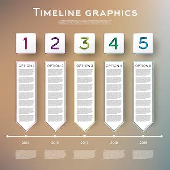 Projeto de infográficos de linha do tempo com cinco opções.