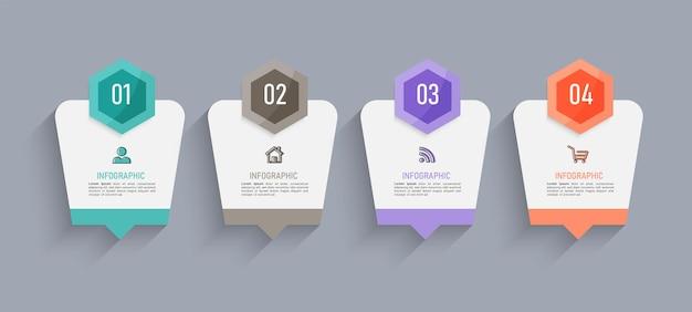 Projeto de infográficos de linha do tempo de quatro etapas