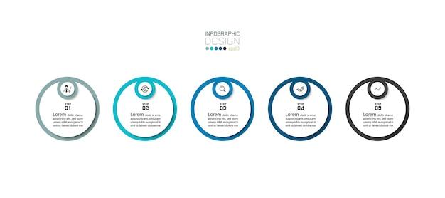 Projeto de infográficos. desenho de círculo moderno em 5 etapas.