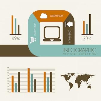 Projeto de infográficos sobre fundo branco