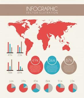 Projeto de infográficos sobre fundo rosa