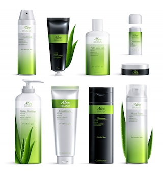 Projeto de ingredientes realista cosméticos orgânicos coloridos. definir tubos de cosméticos isolados