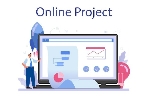 Projeto de início de serviço ou plataforma online. inicie a ideia de desenvolvimento de negócios.